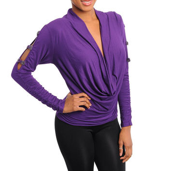 Cut Out Long Sleeve Cowl Neck Top in Purple