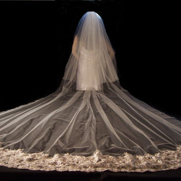 Beaded Lace Trimmed Cathedral Veil with 11ft. Train