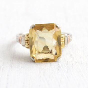 Vintage Art Deco 14k White, Yellow, & Rose Gold Citrine Ring - Antique 1930s Size 6 1/2 Yellow Stone Flower Fine Jewelry, Hallmarked WWW