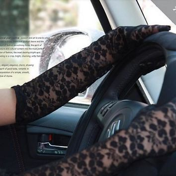 5 Colors Summer Driving Sun Gloves Women Sexy Black & White Lace Floral Hand Warmers Long Mittens for Evening Party or Drive