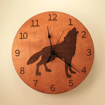 Wolf laser cut clock Wood clock Nature clock Wooden wall clock Hunting decor Hunting gift Home clock Wolf decor Wildlife clock Howling wolf