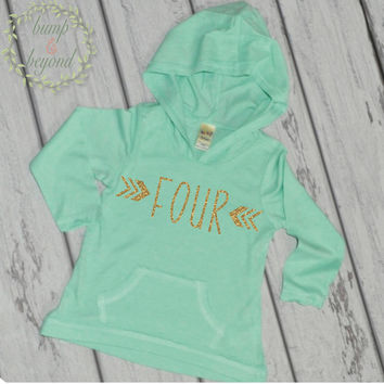 Fourth Birthday Shirt Girl 4th Birthday Shirts for Girls Four Year Old Girl Birthday Outfit Hoodie 4th Birthday Girl Outfit Green Pink 132