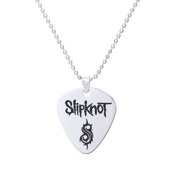 1PC Rock Band Slipknot Pendant Necklace  1.5mm Guitar Picks stainless steel jewelry beaded long chain hiphop jewelry