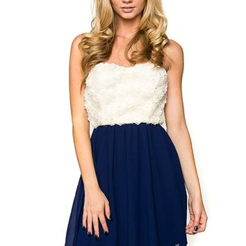 Strapless Rose Texture Chiffon Comb Cocktail Dress U.S.A
