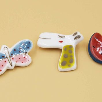 Ceramic Pins-butterfly, Giraffe, Watermelon, Colorful
