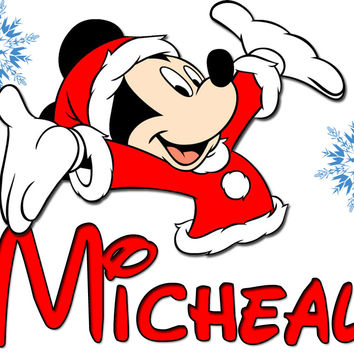 Personalized Disney Christmas NAME Shirts T-shirt Mickey Mouse Very Cute!