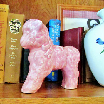 Pink Lamb Planter Glazed Ceramic Baby Shower Gift Vintage 1950's Collectible Gift Item 751