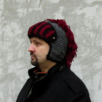 Men's Hat Crocheted Knight Helmet ,Grey red Knight Beanie , Slouch Men Hat Winter Snowboard Ski Mask Bicycle