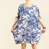New Fashion Women Blue Baggy Sundress Short Sleeve Plus Size Dresses Summer Dresses Cotton Linen Dresses With Side Pockets