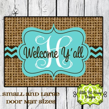 Burlap Inspired Chevron Door Mat Welcome Y'all Personalized Door Mat Monogram Floor Mat Initial
