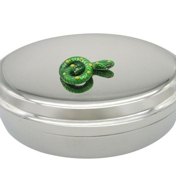 Green Snake Oval Trinket Jewelry Box