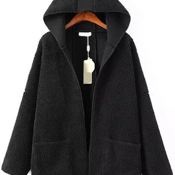 Black Hooded Fleece Coat