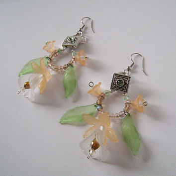 Peach Floral Chandelier Earrings with Acrylic Components and Swarovski Crystal Beaded Accents with Silver-toned hardware