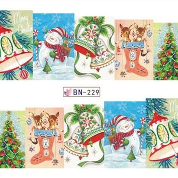 SWEET TREND 1 Sheet Christmas XMAS Nail Art Water Transfer Stickers Beauty Full Wraps Manicure Designs Nails Decals LABN229-252