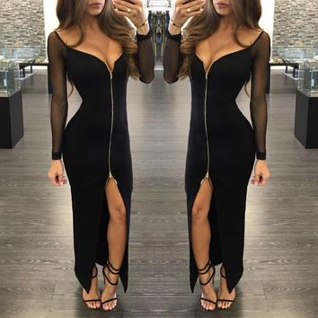 Deep V-neck Mesh Patchwork Split Irregular Long Dress