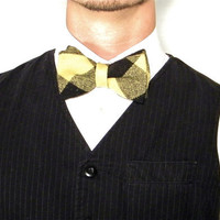 Black and Yellow Wool Buffalo Plaid Bow Tie