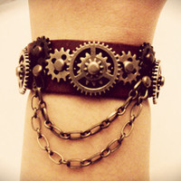Steampunk Leather Bracelet - Goethe