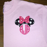 Minnie mouse inspired monogram long sleeve tshirt