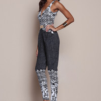 BOHO PRINT GOLD BAR JUMPSUIT