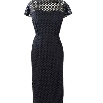 50s Black Eyelet Lace Cocktail Dress