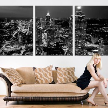 Large Canvas Print - Atlanta Night Skyline Cityscape Black White, Atlanta Large Canvas Print, Atlanta Night Citiescape Art Canvas Print