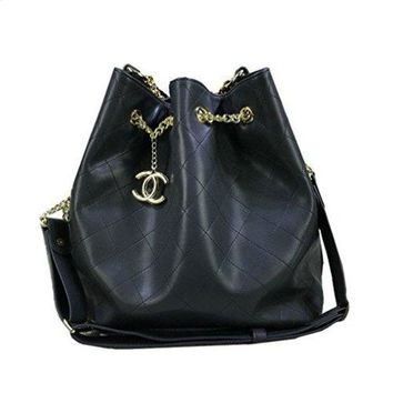 ONETOW Chanel black calfskin bag size chain