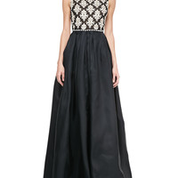 Naeem Khan Sleeveless Embroidered-Bodice Ball Gown