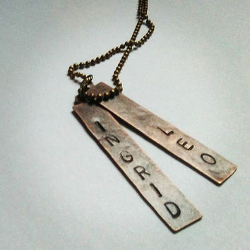 Child Name Necklace, Child Name Jewelry, Hand Stamped Brass Necklace, Red Copper Bar Necklace, Engraved Kids Name Gift Mom Necklace, Mother
