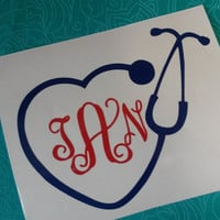Stethoscope Monogram Decal | Stethoscope | Decal | Nurse Decal | Glitter Decal | Laptop sticker | Sticker | Car Decal | Nurse | monogram