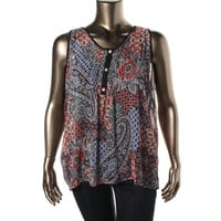 American Rag Womens Plus Printed Sleeveless Pullover Top