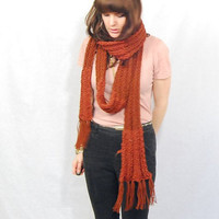 Extra Long Scarf, Knit in Rust Red