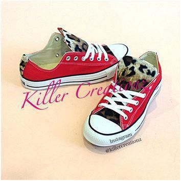 custom leopard low top converse any color size made to order