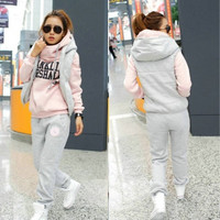 2014 New Fashion Woman Sport Sweatshirt Set Three Piece Pullovers Long Sleeve Slim Fashion Lady Hoodies Sets = 1920157316