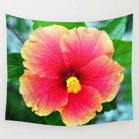 Yellow Pink Hibiscus - Wall Tapestry, Surf Flower Hawaii Botanical, Boho Beach House Throw Cover. Available in 51x60 / 68x80 / 88x104 Inches