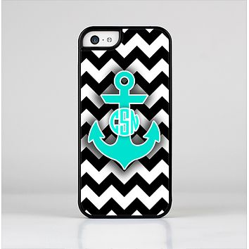 The Teal Green Monogram Anchor on Black & White Chevron Skin-Sert Case for the Apple iPhone 5c