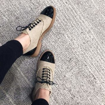 Lace-up Patent Vintage Retro Genuine Leather Oxford Loafers Flats