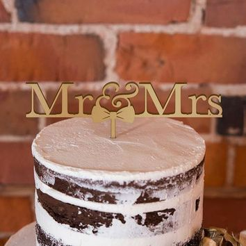 Mr & Mrs Bow Tie Acrylic Cake Topper - Metallic Gold (Pack of 1)