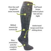Therapeutic Tall Knee Socks for Diabetes, Cold Feet & Sensitive Skin