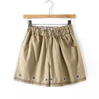 Summer Korean Stylish Elegant Embroidery Casual Shorts [6048829121]