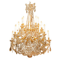 Antique French Napoleon III Bronze D'ore and Baccarat Chandelier