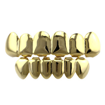 GENBOLI New Hiphop Teeth Grillz Smooth Plane Teeth Braces Top & Bottom Teeth Grillz Body Jewelry Halloween Party Gift