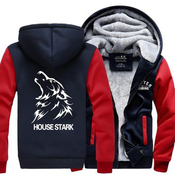 New Winter Hooded Thick Zipper Men cardigan Sweatshirts Jackets and Coats game of thrones hoodie Anime TV