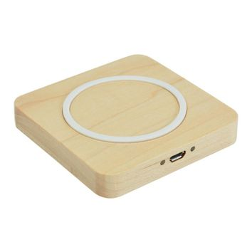 Universal Wood Qi Standard Wireless Charger Phone Chargers Adapter Square Charging Pad For iPhone 7 For Samsung Mobile Phone