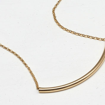 Gold Curved Bar Necklace,14K Gold-Filled, Tube,Everyday Jewelry,Classic, Delicate Necklace, Modern Jewelry, Minimal Jewelry, Dainty