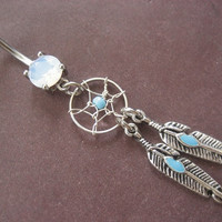 Dream Catcher Belly Button Ring Jewelry Bar by Azeetadesigns