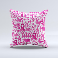 Pink Collage Breast Cancer Awareness Ink-Fuzed Decorative Throw Pillow
