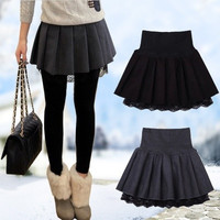 Winter new women's Sweet Wool skirt black high waist lace Pleated Tutu skirts for women = 1946853124