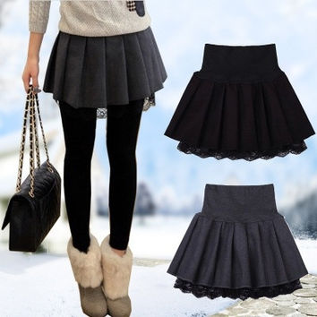 2015 Winter new women's Sweet Wool skirt black high waist lace Pleated Tutu skirts for women = 1946853124