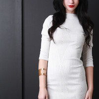 Diamond Knit Mock Rounded Hem Dress