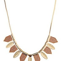 GLITTER CHEVRON & FEATHER COLLAR NECKLACE